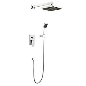 cheap Shipping Discount-Shower Faucet - Contemporary Chrome Wall Mounted Ceramic Valve Bath Shower Mixer Taps / Brass