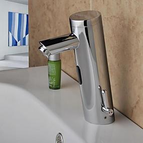 cheap Induction Faucets-Bathroom Sink Faucet - Sensor Chrome Centerset Hands free One HoleBath Taps