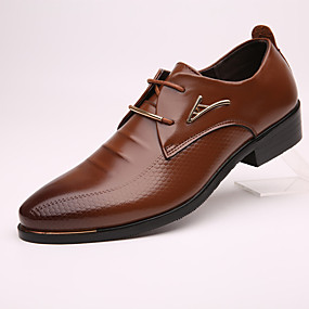 baratos Oxfords Masculinos-Homens Sapatos formais Pele Primavera / Outono Negócio Oxfords Preto / Marron / EU40