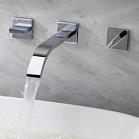 cheap Home Improvement-Bathroom Sink Faucet - Waterfall Chrome Wall Mounted Three Holes / Two Handles Three HolesBath Taps