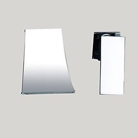abordables Chrome Series-Robinet lavabo - Jet pluie Chrome Montage mural 2 trous / Mitigeur deux trous