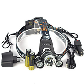 cheap Flashlights & Camping Lanterns-Headlamps Safety Light Headlight LED LED Emitters 13000 lm 1 Mode with Batteries and Chargers Anglehead Suitable for Vehicles Super Light Camping / Hiking / Caving Everyday Use Cycling / Bike