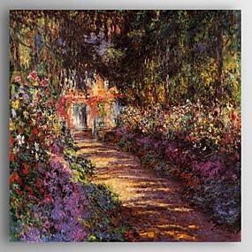 billige Andre Berømte Malerier-Hang malte oljemaleri Håndmalte - Landskap Moderne Inkluder indre ramme / Stretched Canvas