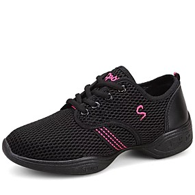 cheap Shoes & Bags-Women's Dance Sneakers / Modern Shoes Fabric Sneaker Lace-up Flat Heel Non Customizable Dance Shoes White / Black / Pink / Performance / EU40