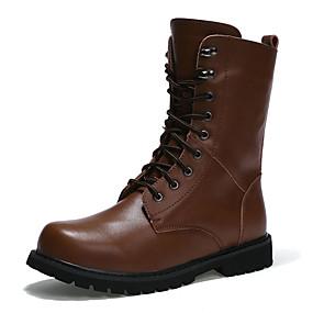 voordelige Wijdere maten schoenen-Heren PU Herfst / Winter Comfortabel Laarzen Anti-slip Zwart / Bruin