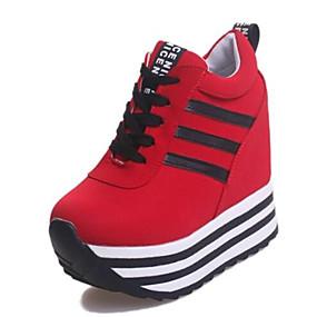 voordelige Damessneakers-Dames Sneakers Plateau / Creepers Veters Canvas Wandelen Lente / Herfst / Winter Wit / Zwart / Rood / EU37