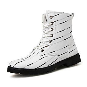 baratos Botas Masculinas-Homens sapatos Lona Outono / Inverno Curta / Ankle / Coturnos Botas Botas Curtas / Ankle Branco / Preto / Festas & Noite