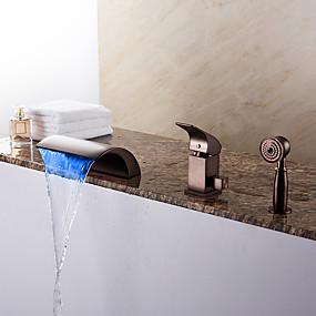 cheap 80% OFF-Bathtub Faucet - Modern Oil-rubbed Bronze Roman Tub Ceramic Valve Bath Shower Mixer Taps / Brass / Single Handle Three Holes