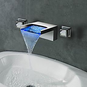 abordables Offres de la Semaine-Robinet lavabo - Jet pluie / LED Chrome Montage mural Deux poignées trois trousBath Taps