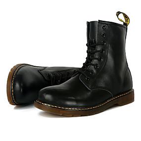 baratos Botas Masculinas-Homens Sapatos Confortáveis Couro Ecológico Outono / Inverno Formais Botas Antiderrapante Botas Cano Médio Preto / Castanho Escuro / Vermelho / Cadarço