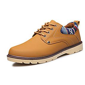 baratos Oxfords Masculinos-Homens Sapatos Confortáveis Couro Ecológico Primavera / Outono Oxfords Caminhada Vestível Preto / Azul Marinho / Amarelo Terra / Cadarço