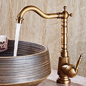 cheap Home Improvement-Bathroom Sink Faucet - Widespread Antique Copper Centerset Single Handle One HoleBath Taps