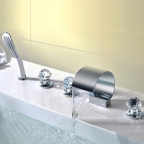cheap Bathroom Sink Faucets-Bathroom Sink Faucet - Waterfall / Handshower Included Chrome Deck Mounted Three Handles Five HolesBath Taps / Brass