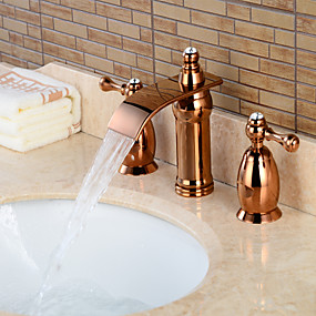 cheap Free Shipping-Bathroom Sink Faucet - Waterfall Rose Gold Widespread Two Handles Three HolesBath Taps / Brass