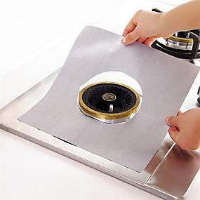 billige Kjøkkenrengjøringsmidler-sølv teflon gass komfyr ovn ansiktsbeskyttelse mat liner 1pc