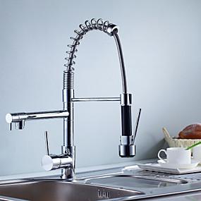 povoljno Kuhinjske slavine-Kuhinja pipa - Dvije ručke jedna rupa Chrome Središnje pozicionirane Suvremena Kitchen Taps
