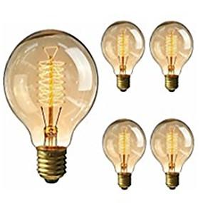 billige Glødelampe-5pcs 40W E26 / E27 G95 Varm hvit 2200-2800k Kontor / Bedrift Mulighet for demping Dekorativ Glødende Vintage Edison lyspære 220-240V