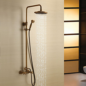 hesapli Banyo Koleksiyon-Duş Musluğu - Antik Antik Pirinç Duş Sistemi Seramik Vana Bath Shower Mixer Taps / İki Kolları Üç Delik