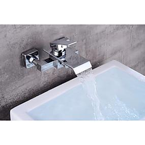 povoljno Popust-Slavina za kadu - Suvremena Chrome Središnje pozicionirane Keramičke ventila Bath Shower Mixer Taps / Brass / Jedan obrađuju dvije rupe