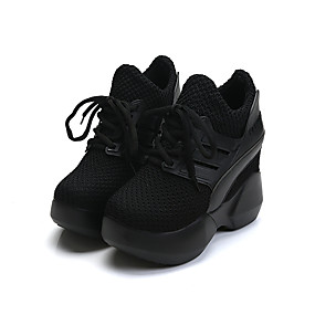 voordelige Damessneakers-Dames Sportschoenen Plateau Ronde Teen PU Comfortabel Lente Zwart / Rood / EU39