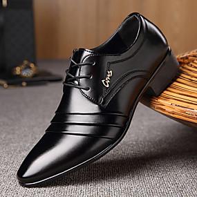 Недорогие Обувь больших размеров-Муж. Официальная обувь Микроволокно Весна / Осень Деловые Туфли на шнуровке Для прогулок Черный / Шнуровка / Комбинация материалов / Комфортная обувь / EU40
