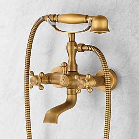 voordelige Vintage kranen-Badkraan - Antiek Antiek Koper Middenset Keramische ventiel Bath Shower Mixer Taps / Messing / Single Handle twee gaten