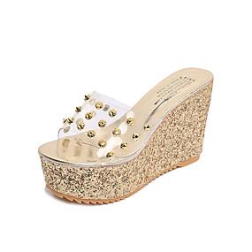 01e9b0b18 Women s PU(Polyurethane) Summer Comfort Slippers   Flip-Flops Gold   Silver    Rhinestone   Wedge Heel