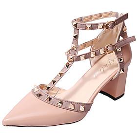 ราคาถูก -0.5-สำหรับผู้หญิง รองเท้าแตะ ส้นหนา หัวเข็มขัด PU ความสะดวกสบาย วสำหรับเดิน ฤดูร้อน สีดำ / แดง / สีชมพู / EU39