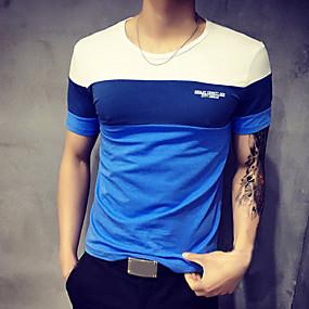 Χαμηλού Κόστους Ξεπούλημα-Ανδρικά Μεγάλα Μεγέθη T-shirt Αθλητικά Βαμβάκι Συνδυασμός Χρωμάτων Στρογγυλή Λαιμόκοψη Patchwork Μπλε & Άσπρο Πορτοκαλί XXXL / Κοντομάνικο / Καλοκαίρι