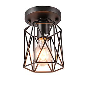billige Taklamper-vintage mini 1-lys svart metall bur loft tak lampe flush mount spisestue kjøkken lysarmatur