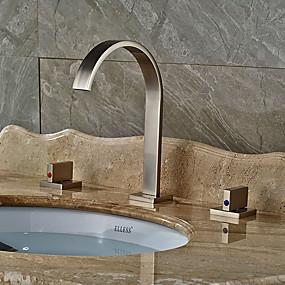 abordables Offres de la Semaine-Robinet lavabo - Séparé Nickel brossé Vasque Deux poignées trois trousBath Taps