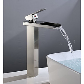 cheap 50% OFF-Bathroom Sink Faucet - Waterfall Nickel Brushed Centerset Single Handle One HoleBath Taps / Brass