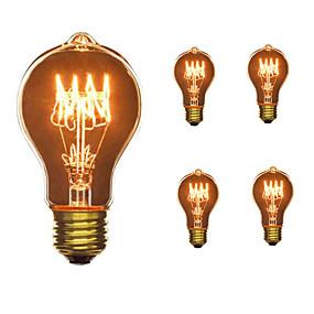 billige Glødelampe-5pcs 40W E26 / E27 A60(A19) Varm hvit 2300k Kontor / Bedrift Mulighet for demping Dekorativ Glødende Vintage Edison lyspære 110-130V