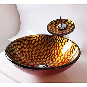abordables Lavabos-Moderno Redondo material del disipador es Vidrio Templado Lavabo de Baño