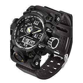 levne Brand Watches-SANDA Pánské Sportovní hodinky Inteligentní hodinky Náramkové hodinky japonština Digitální Silikon Černá / Bílá / Hnědá 30 m Voděodolné LED Hodinky s dvojitým časem Analog - Digitál Módní - Červen