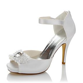 7086099fc06 Γυναικεία Παπούτσια Σατέν Καλοκαίρι / Φθινόπωρο Ανατομικό Τακούνια Τακούνι  Στιλέτο Ανοικτή Μύτη Κρυσταλλάκια Λευκό / Γάμου