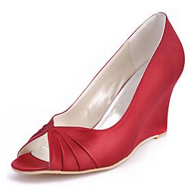 cheap Women's Wedges-Women's Wedding Shoes Wedge Heel Peep Toe Ruffles Elastic Fabric Basic Pump Spring / Summer Blue / Light Pink / Ivory / Party & Evening