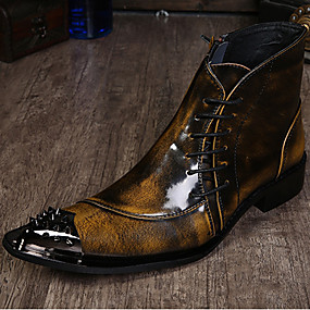 voordelige Wijdere maten schoenen-Heren Formele Schoenen Nappaleer Herfst / Winter Vintage Laarzen Korte laarsjes / Enkellaarsjes Zwart / Lichtbruin / Grijs / Feesten & Uitgaan / Feesten & Uitgaan / Toimisto & ura / Fashion Boots