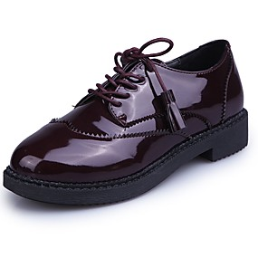 cheap Women's Oxfords-Women's Tassel Shoes Patent Leather Fall Comfort Oxfords Flat Heel Round Toe Tassel Black / Burgundy