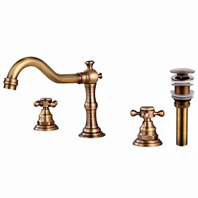 cheap 80% OFF-Faucet Set - Widespread Antique Copper Widespread Two Handles Three HolesBath Taps