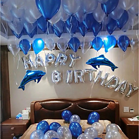 Balloons And Hy Birthday Alphabet Blue Dolphins Aluminum Film 100 Glue Dot Point For Party Balloon Decoration