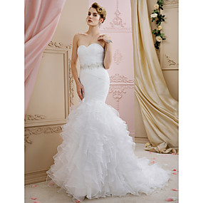cheap Weddings & Events-Mermaid / Trumpet Sweetheart Neckline Sweep / Brush Train Organza Made-To-Measure Wedding Dresses with Sashes / Ribbons / Cascading Ruffles by LAN TING BRIDE® / Open Back