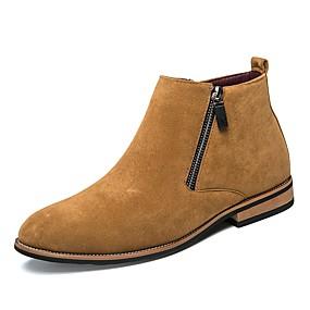 voordelige Wijdere maten schoenen-Heren Formele Schoenen Suède Herfst / Winter Informeel Laarzen Zwart / Bruin / Beige / Veters / Toimisto & ura