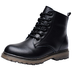 baratos Kids' Shoes Promotion-Para Meninos Couro Botas Little Kids (4-7 anos) / Big Kids (7 anos +) Conforto / Coturnos Cadarço Preto Outono / Inverno / Botas Curtas / Ankle / TPR- Borracha termoplástica / EU36