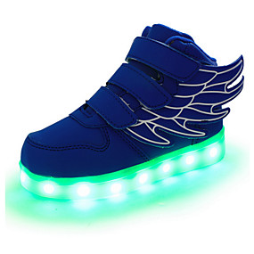 Boys  Shoes Leather Spring   Fall Comfort   Novelty   Light Up Shoes  Sneakers Magic Tape   LED for Red   Green   Blue 09a9f597d18a