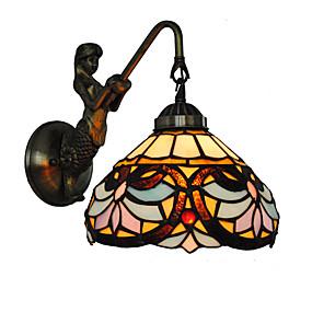 abordables Lampe Tiffany-diamètre 20 cm rétro pays sirène tiffany appliques murales abat-jour en verre salon chambre luminaire