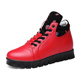 baratos Sapatos Esportivos Femininos-Mulheres Tênis Plataforma Ponta Redonda Cadarço Courino Botas Curtas / Ankle Conforto / Botas da Moda Aventura Outono / Inverno Branco / Preto / Vermelho