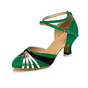 billige Moderne sko-Dame Moderne sko Fleece / Kunstlær Spenne Kustomisert hæl Kan spesialtilpasses Dansesko Rød / Grønn / Profesjonell