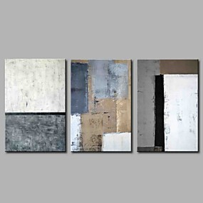 cheap Multi Panel Art-Oil Painting Hand Painted - Abstract Simple Modern Stretched Canvas / Three Panels