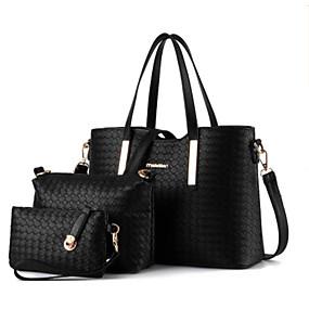 preiswerte Taschensets-Damen Taschen PU Bag Set 3 Stück Geldbörse Set Reißverschluss Schwarz / Silber / Wein